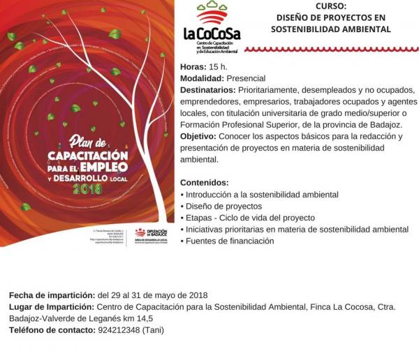 """Los días 29, 30 y 31 de mayo se celebra en CSEA La Cocosa de 9:00 a 14:00 horas el curso """"Diseño de proyectos de sostenibilidad ambiental""""."""