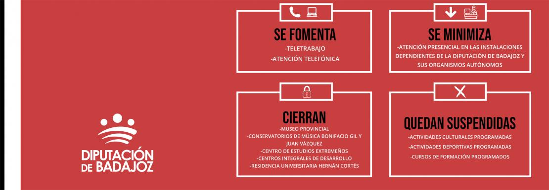 Medidas de contención COVID-19 en Diputación de Badajoz
