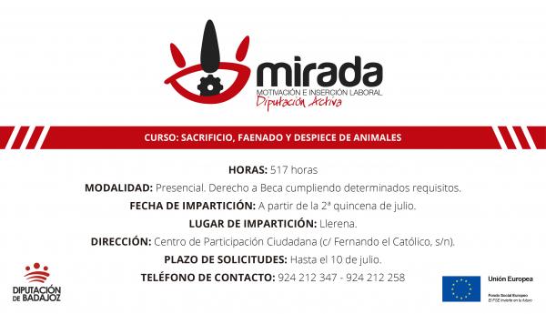 Abierto plazo de presentación de solicitudes para el curso de sacrificio, faenado y despiece de animales de la localidad de Llerena
