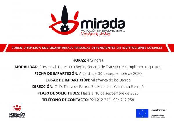 Diputación de Badajoz iniciará un curso de Atención Sociosanitaria a Personas Dependientes en Instituciones Sociales en Villafranca de los Barros