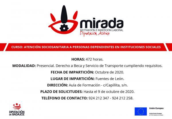 Va a iniciarse en Fuentes de León un curso de Atención Sociosanitaria a Personas Dependientes en Instituciones Sociales