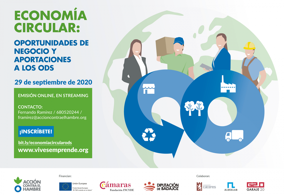 El emprendimiento circular y sostenible, tema principal en la jornada celebrada por Acción Contra el Hambre y la Diputación de Badajoz