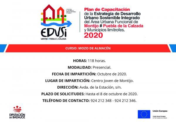 Va a comenzar un curso de mozo de almacén en Montijo promovido por el plan de capacitación para el empleo de la EDUSI