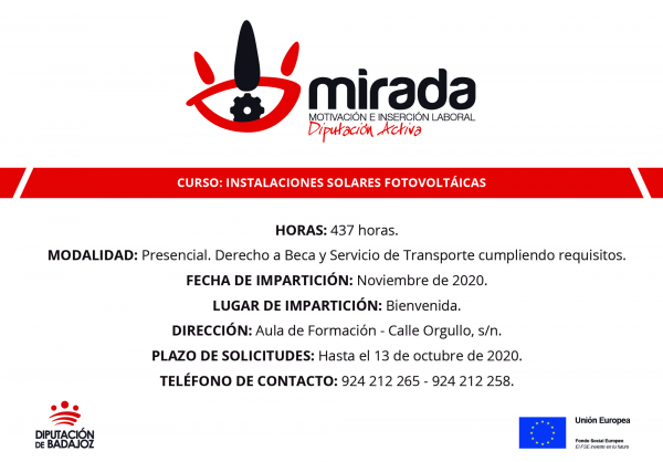Diputación de Badajoz iniciará en Bienvenida un curso de Instalaciones solares fotovoltáicas
