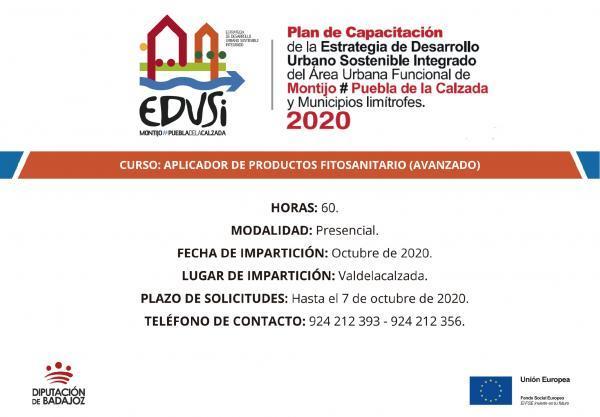La Diputación de Badajoz va a comenzar un curso de Aplicador de productos fitosanitarios en Valdelacalzada