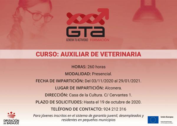 Un curso de Auxiliar de Veterinaria va a comenzar en Alconera promovido por la Diputación de Badajoz