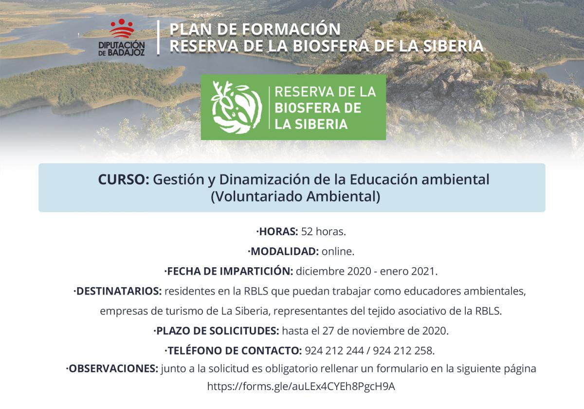 Abierto plazo de solicitudes para un curso de Gestión y Educación ambiental