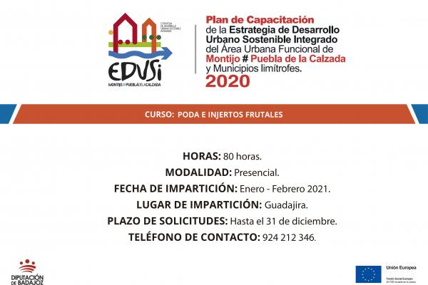 La Diputación de Badajoz va a comenzar un curso de Poda e injertos frutales en Guadajira