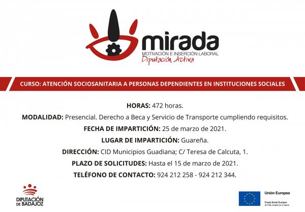 Diputación de  Badajoz iniciará un curso de atención sociosanitaria a personas dependientes en instituciones sociales en Guareña