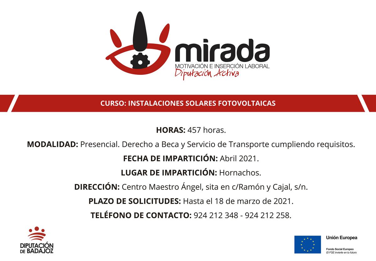 Diputación de Badajoz iniciará un curso de Instalaciones solares fotovoltaicas en Hornachos