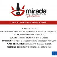 Va a comenzar en Puebla de la Calzada un curso de Actividades Auxiliares de Almacén