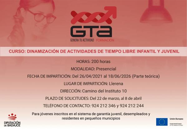 """Va a comenzar un curso de """"Dinamización de actividades de tiempo libre infantil y juvenil"""" en Llerena"""