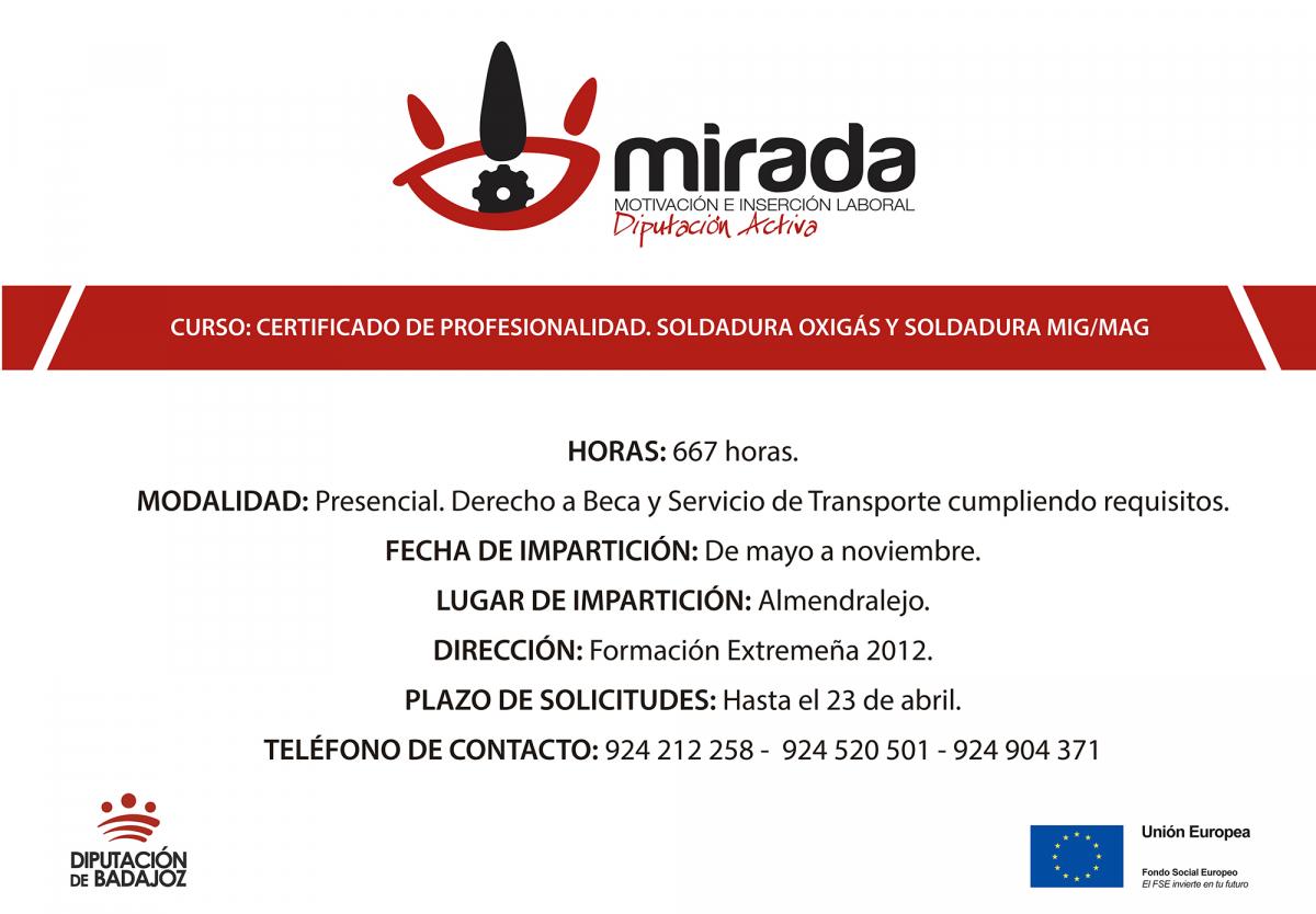 La Diputación de Badajoz, a través del Proyecto MIRADA, va a iniciar dos nuevas acciones formativas en Almendralejo y La Coronada