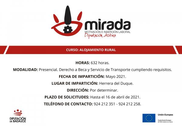 Diputación de Badajoz iniciará una acción formativa de Alojamiento Rural en Herrera del Duque