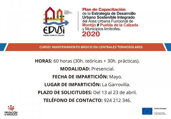 """La Diputación de Badajoz va a comenzar un curso de """"Mantenimiento básico en centrales termosolares"""" en La Garrovilla"""
