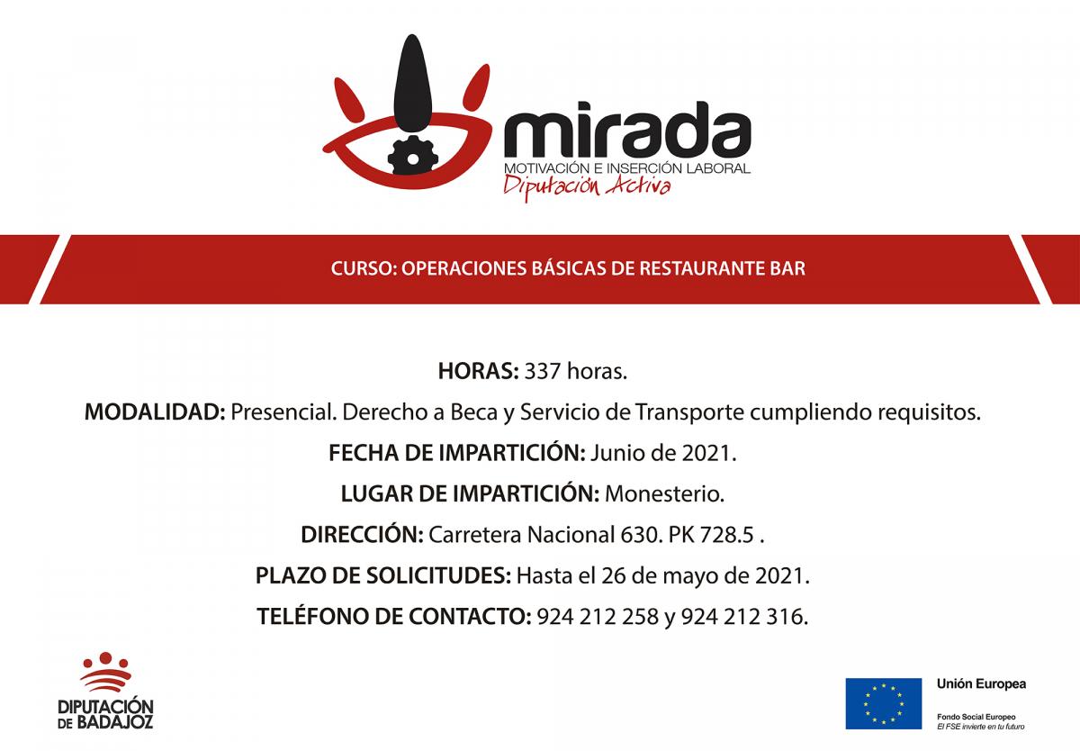 """La Diputación de Badajoz iniciará una acción formativa de """"Operaciones básicas de restaurante-bar"""" en Monesterio"""