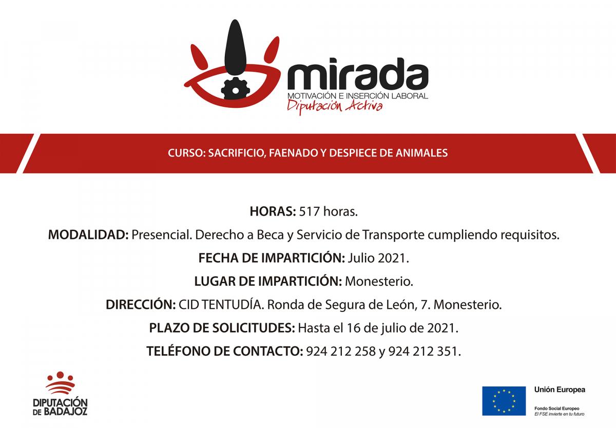 Va a comenzar un curso de Sacrificio, faenado y despiece de animales en Monesterio, impulsado por la Diputación de Badajoz