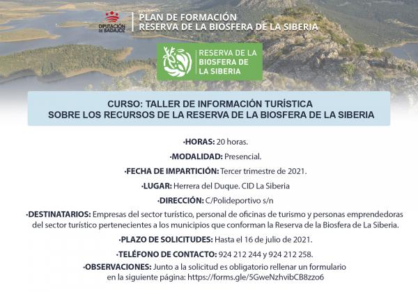 Abierto plazo de solicitudes para un Taller de información turística sobre los recursos de la Reserva de la Biosfera de La Siberia en Herrera del Duque