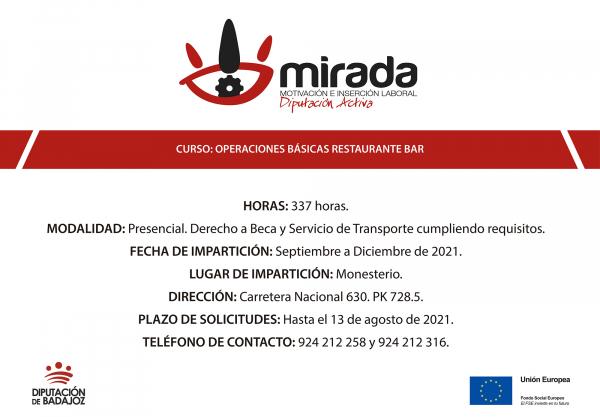 Abierto plazo de solicitudes para un curso de Operaciones básicas de Restaurante-Bar en Monesterio, impulsado por la Diputación de Badajoz