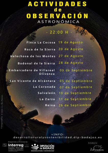 La Diputación de Badajoz organiza diez actividades de observación astronómica en diferentes comarcas de la provincia