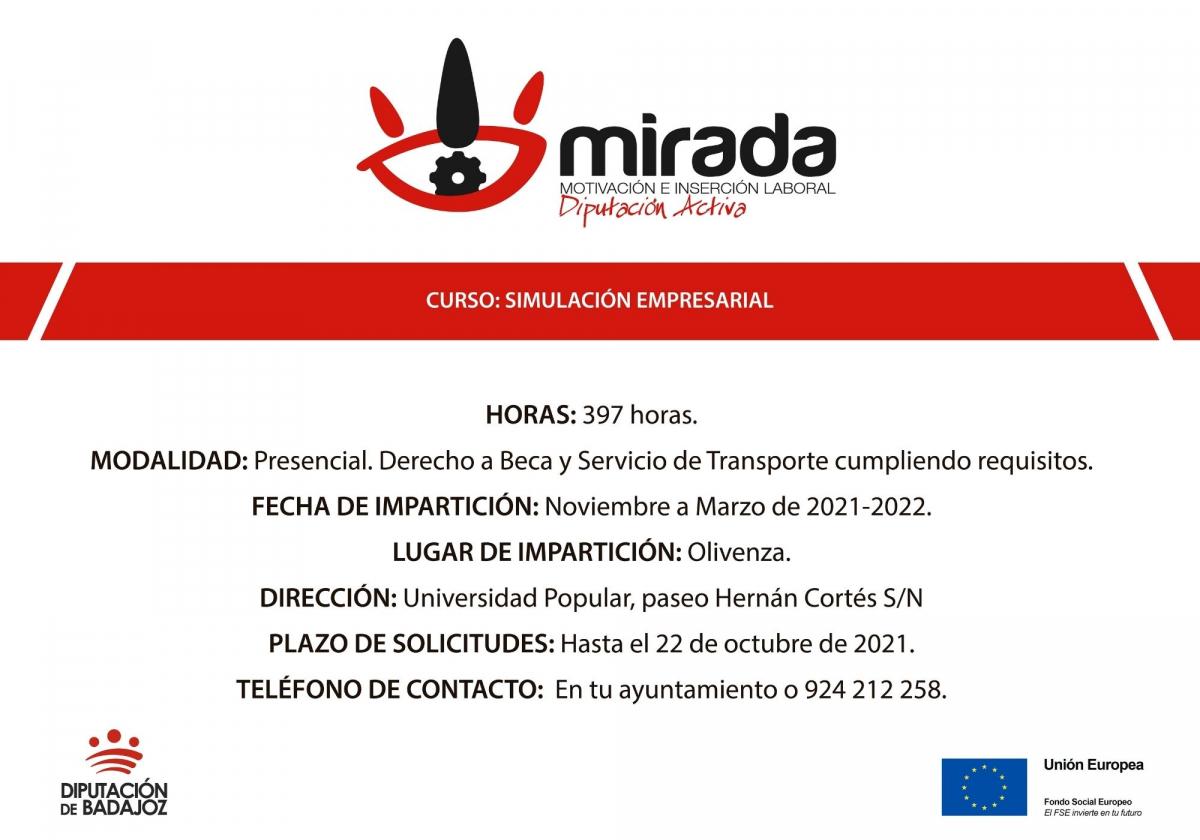 La Diputación de Badajoz impulsa un curso de ''Simulación empresarial'' en Olivenza