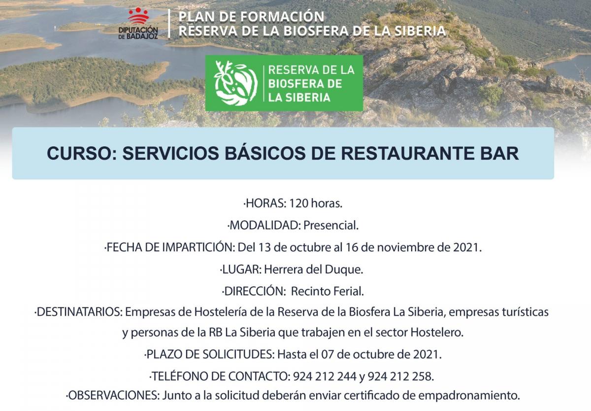 Va a comenzar en Herrera del Duque una nueva acción formativa de 'Servicios básicos de restaurante y bar'