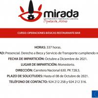 Ampliado el plazo de solicitudes para la acción formativa de ''Operaciones básicas de Restaurante-Bar''